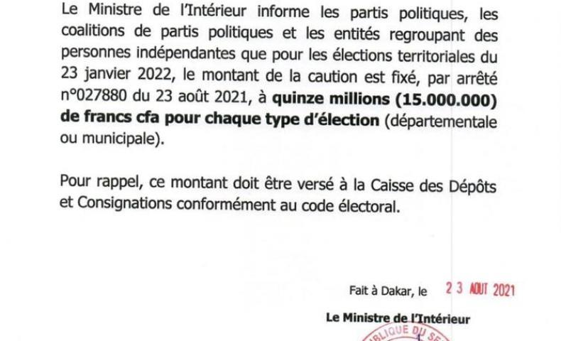 Communiqué du 23 août 2021. La caution pour les élections territoriales fixée à 15.000.000F CFA