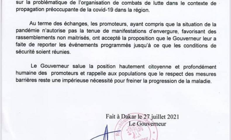 L'organisation de combats lutte reportée dans la région de Dakar jusqu'à nouvel ordre