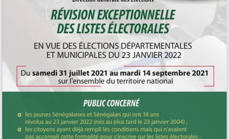 Révision exceptionnelle des listes électorales, du 31 juillet au 14 septembre 2021.