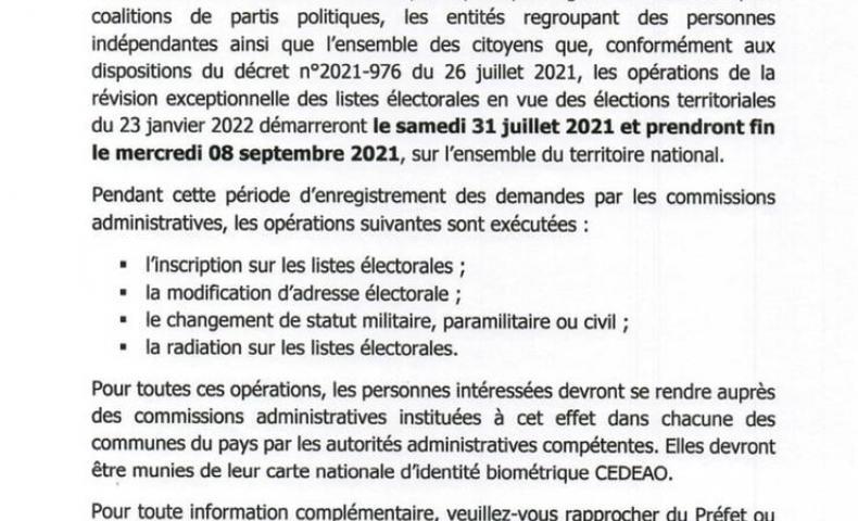 Révision exceptionnelle des listes électorales du samedi 31 juillet au mercredi 08 septembre 2021!